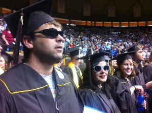Adam Bouche, Erin Fortenberry, and Rebecca Estee graduate in style.